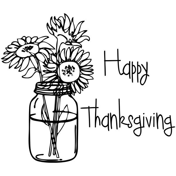 Happy Thanksgiving Sunflowers Craft Stamp
