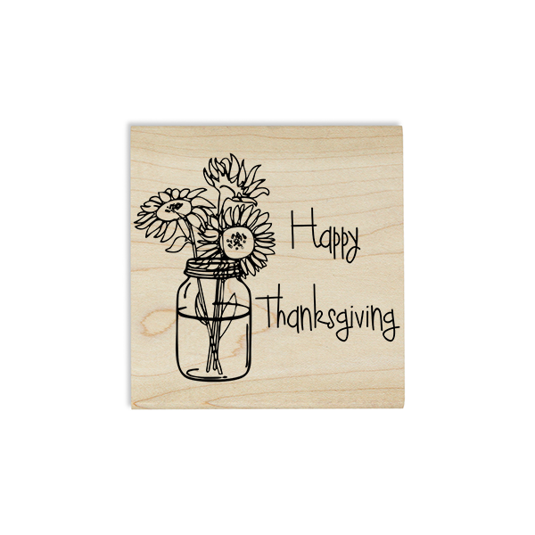 Happy Thanksgiving Sunflowers Craft Stamp Body and Design