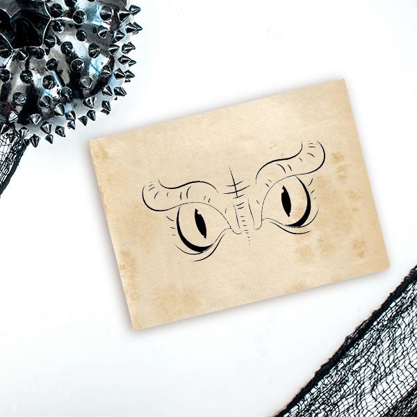 Evil Owl Eyes Craft Stamp Imprint Example