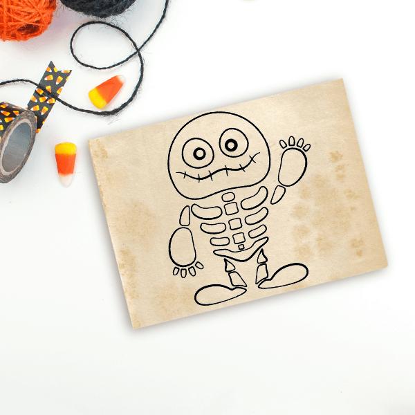 Cute Skeleton Mummy Craft Stamp Imprint Example
