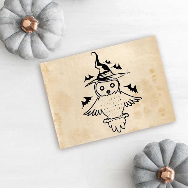 Owl Witch with Bats Craft Stamp Imprint Example