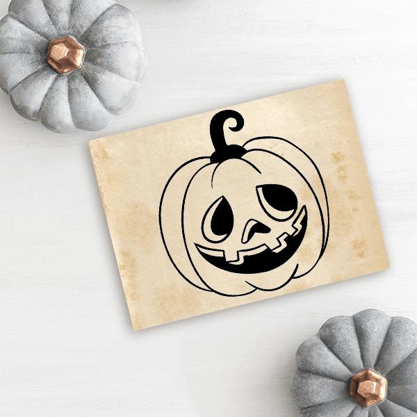 Mr. Goofy Jack O' Lantern Craft Stamp Imprint Example