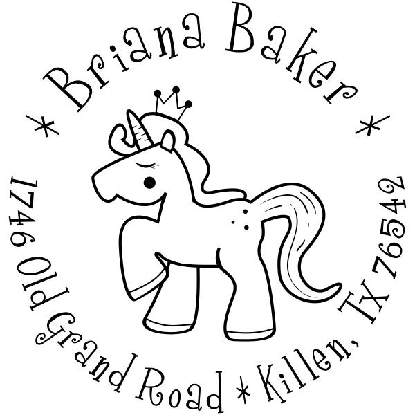 Unicorn Princess Return Address Stamp