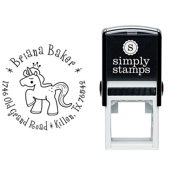 Unicorn Princess Return Address Stamp Body and Design