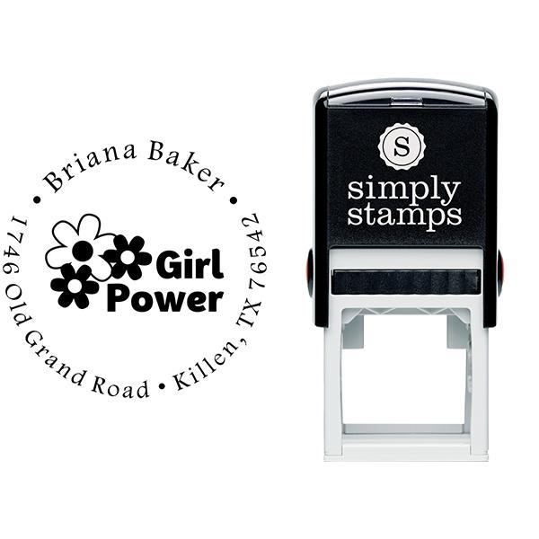 Girl Flower Power Return Address Stamp Body and Design