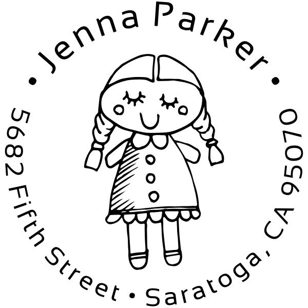 Girl Baby Doll Return Address Stamp