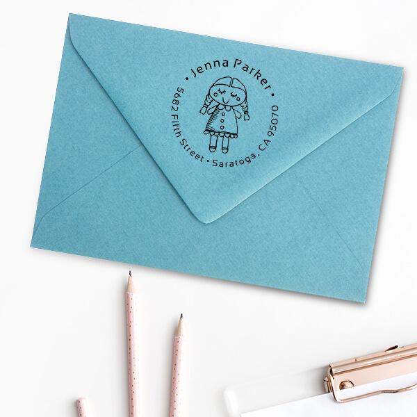 Girl Baby Doll Return Address Stamp Imprint Example