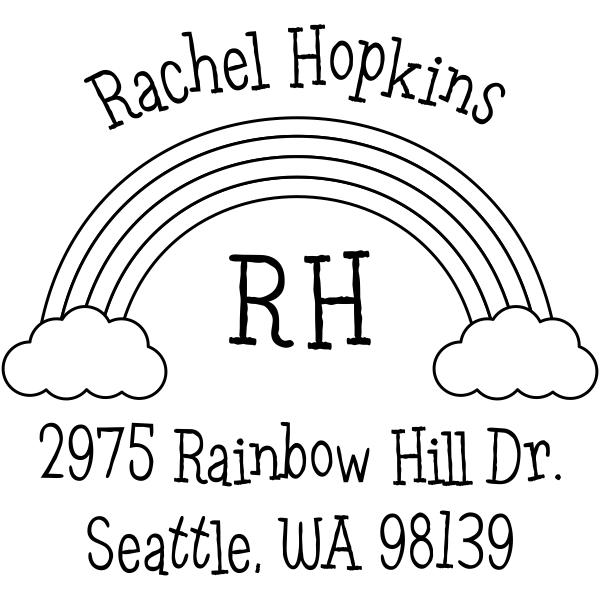 Rainbow Monogram Return Address Stamp