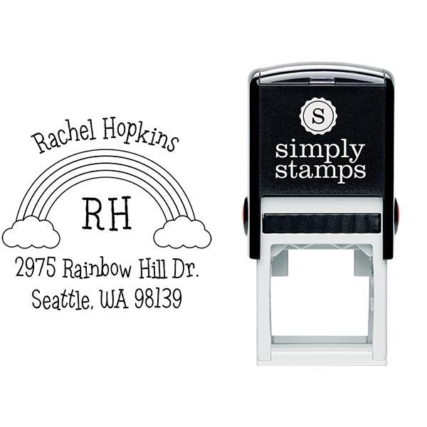 Rainbow Monogram Return Address Stamp Body and Design