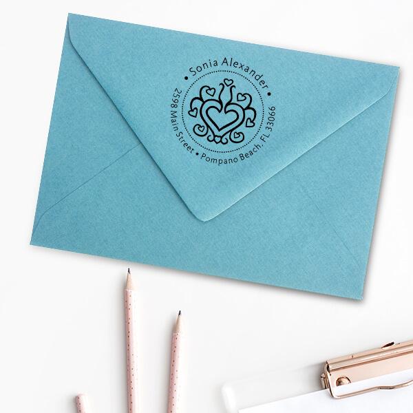 Hearts Galore Return Address Stamp Imprint Example