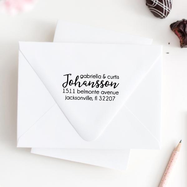 Johansson Script Address Stamp Imprint Example