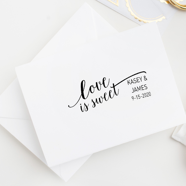 Love is Sweet Wedding Date Rubber Stamp Imprint Example