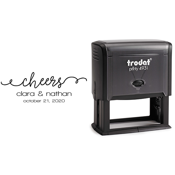 Cheers Wedding Date Rubber Stamp Body and Design