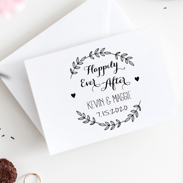 Happily Ever After Wedding Stamp Imprint Example