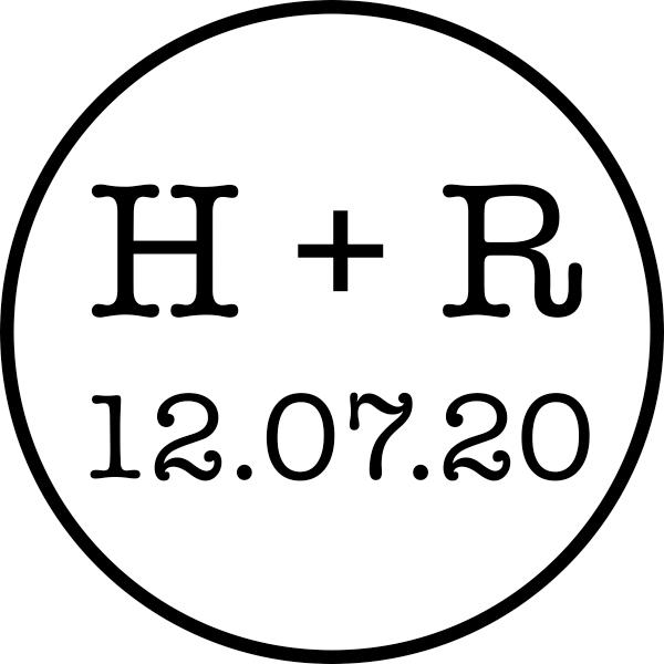 Engaged Couple Circle Wedding Stamp