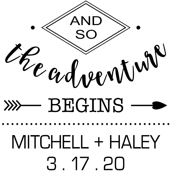 And The Adventure Begins Wedding Stamp