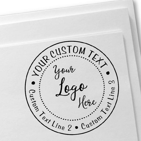 Your Custom Logo Round Stamp Imprint Example