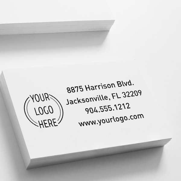 Double Ring Rectangle Logo Stamp Imprint Example