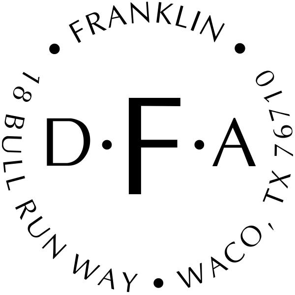 Franklin Monogram Round Address Stamp