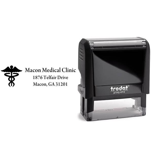 Caduceus Medical Address Stamp Body and Design