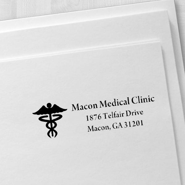 Caduceus Medical Address Stamp Imprint Example