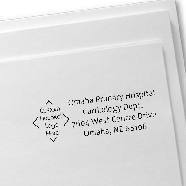 Custom Logo Hospital Address Stamp Imprint Example