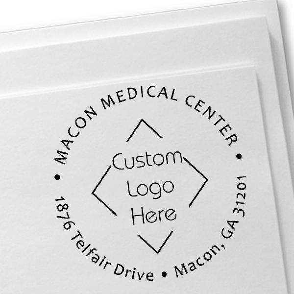 Custom Round Medical Logo Address Stamp Imprint Example