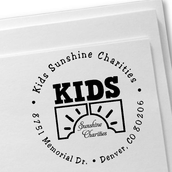Charity Custom Logo Round Address Stamp Imprint Example