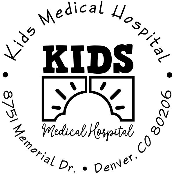 Children Hospital Custom Logo Round Address Stamp
