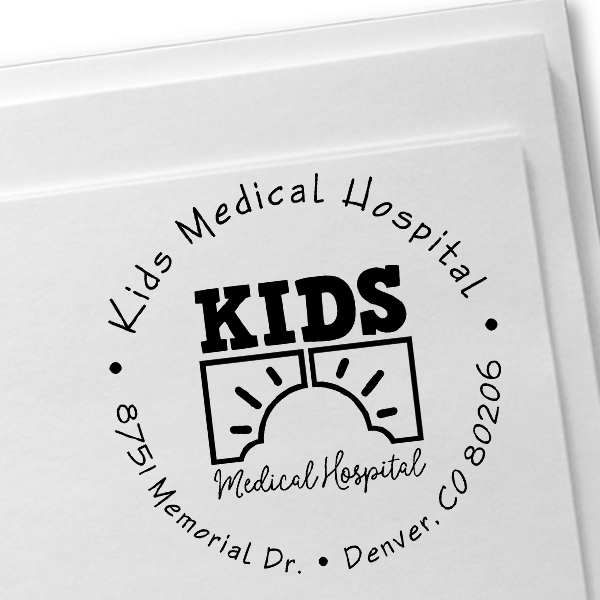 Children Hospital Custom Logo Round Address Stamp Imprint Example
