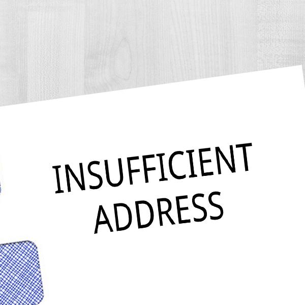 Insufficient Address Rubber Stamp