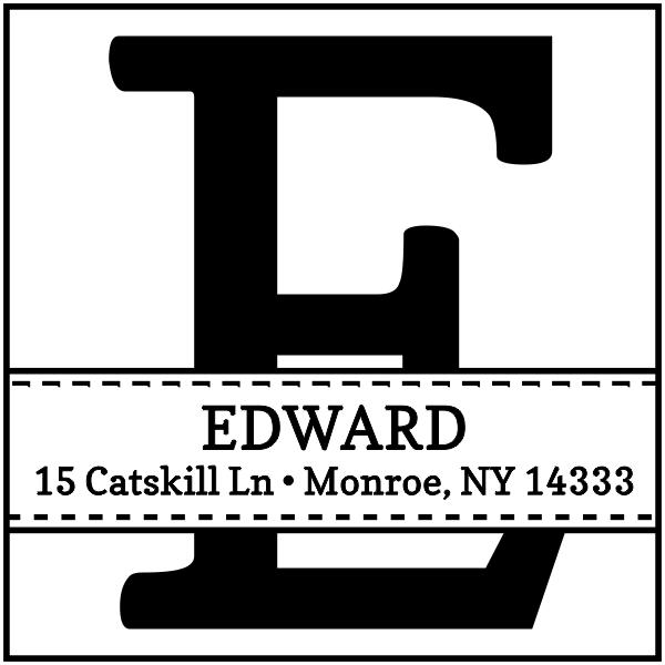Edward Square Address Rubber Stamp