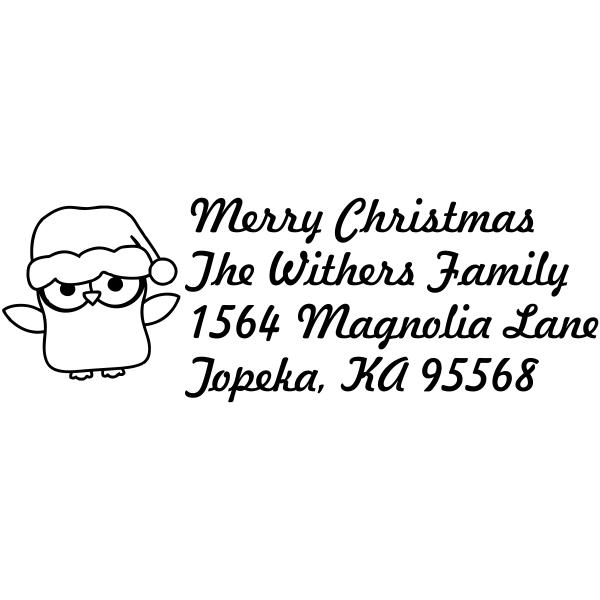 Merry Christmas Owl return address stamp design