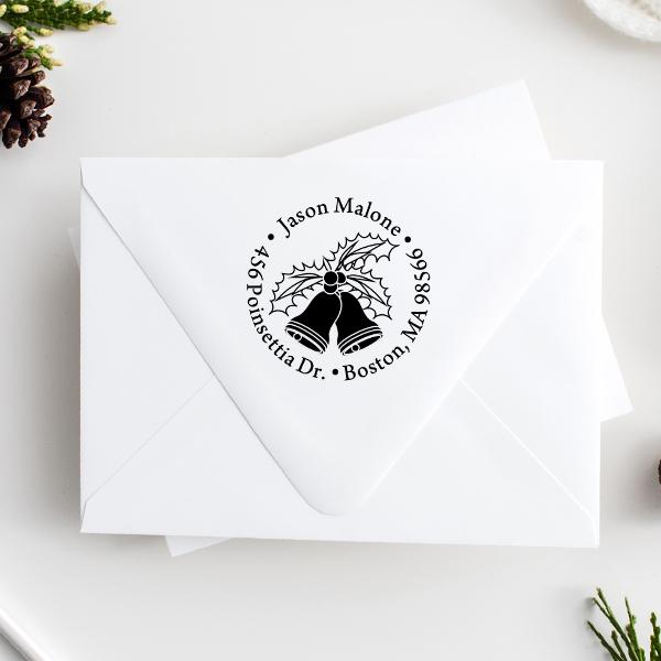 Holly Bells Holiday Return Address Stamp Imprint Example