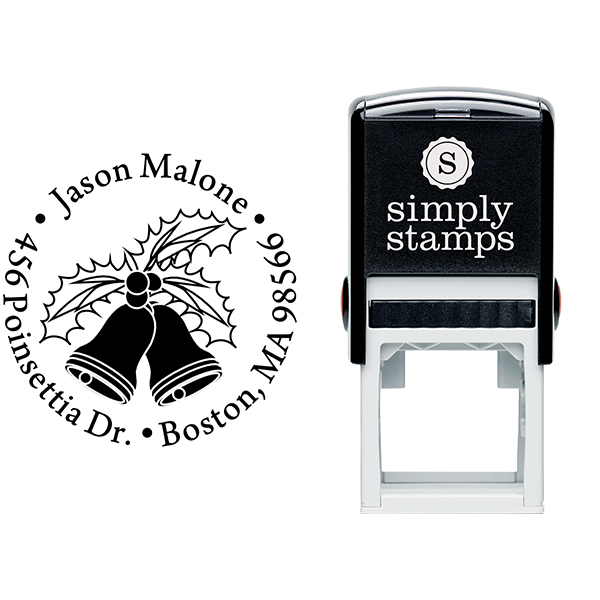 Holly Bells Holiday Return Address Stamp Body and Design