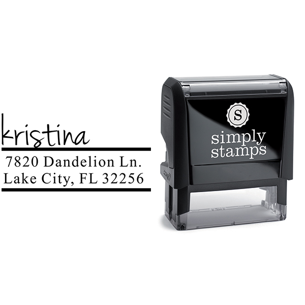 Handwritten Name Return Address Stamp Body and Design