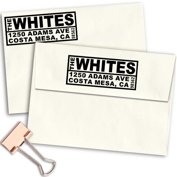 Bold Boxes Return Address Stamp Imprint Example
