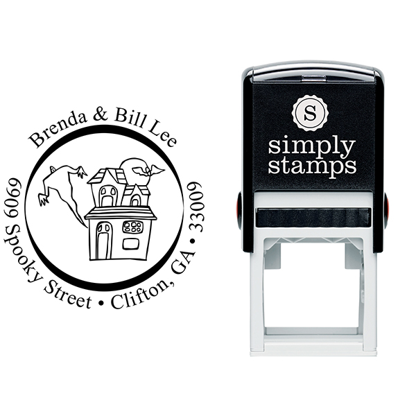 Halloween Spooky Haunted House Return Address Stamp Body and Design
