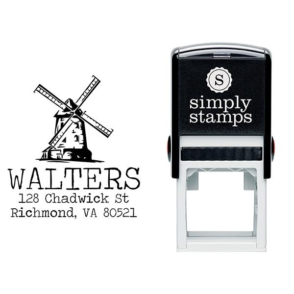 Vintage Windmill Return Address Stamp Body and Design