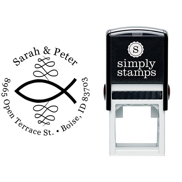 Christian Ichthys Round Address Stamp Body and Design
