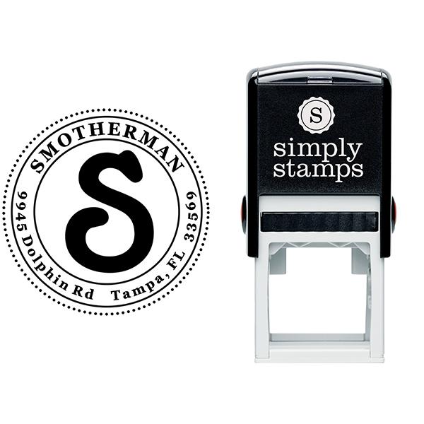 Christine Round Address Stamp Body and Design