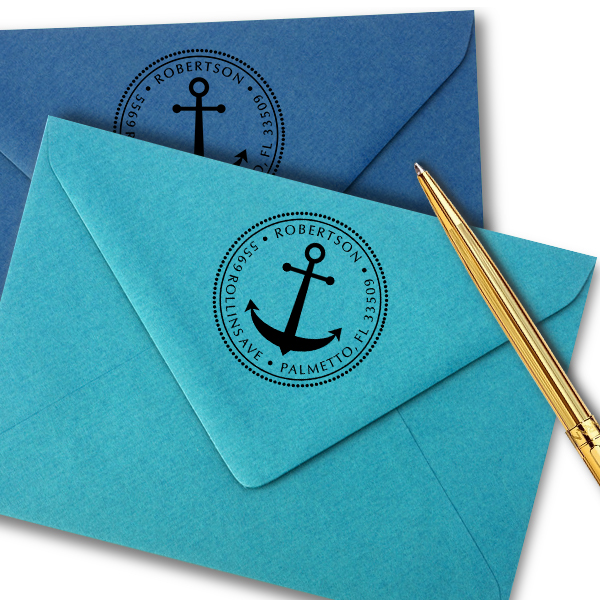 Anchor Round Address Stamp - Self-Inking Imprint Examples on Envelopes