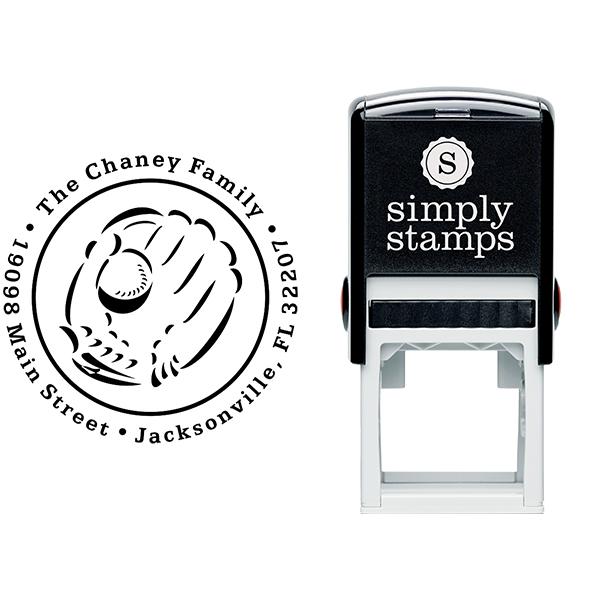 Baseball and Glove Address Stamp Body and Design