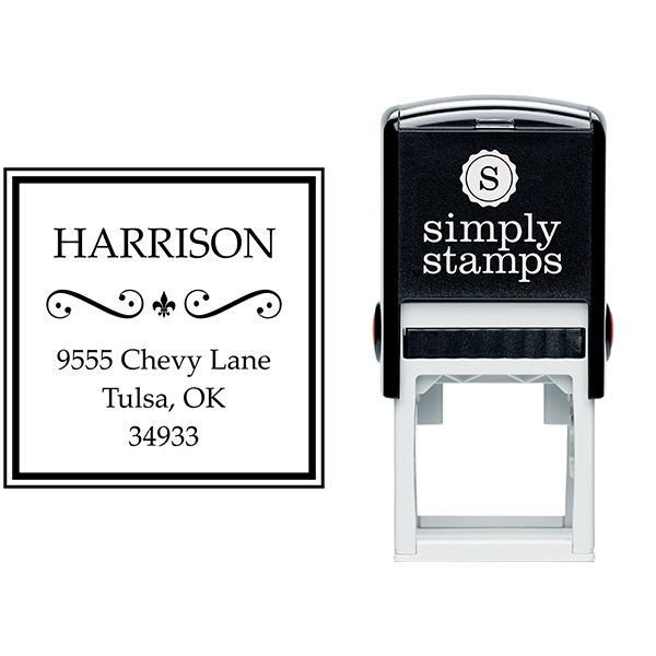 Harrison Curves Square Address Stamp Body and Design