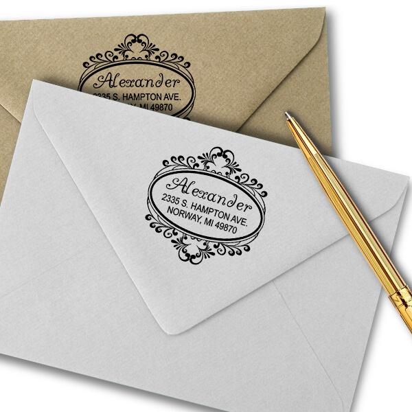 Alexander Oval Address Stamp Imprint Examples on Envelopes