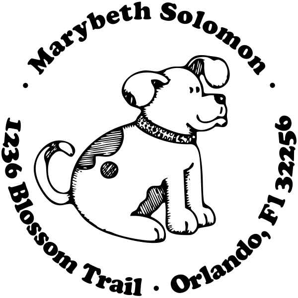 Attentive Dog round address stamp