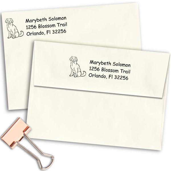 Labrador Dog Return Address Stamp Imprint Example