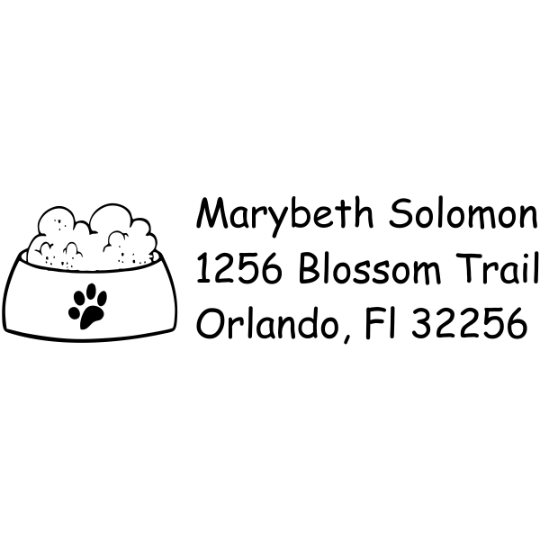 Paw Print Dog Bowl return address stamp