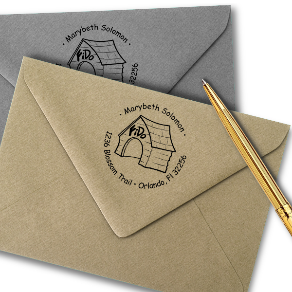 In The Dog House Return Address Stamp Imprint Example