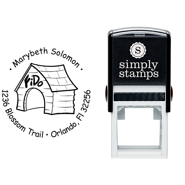 In The Dog House Return Address Stamp Body and Design